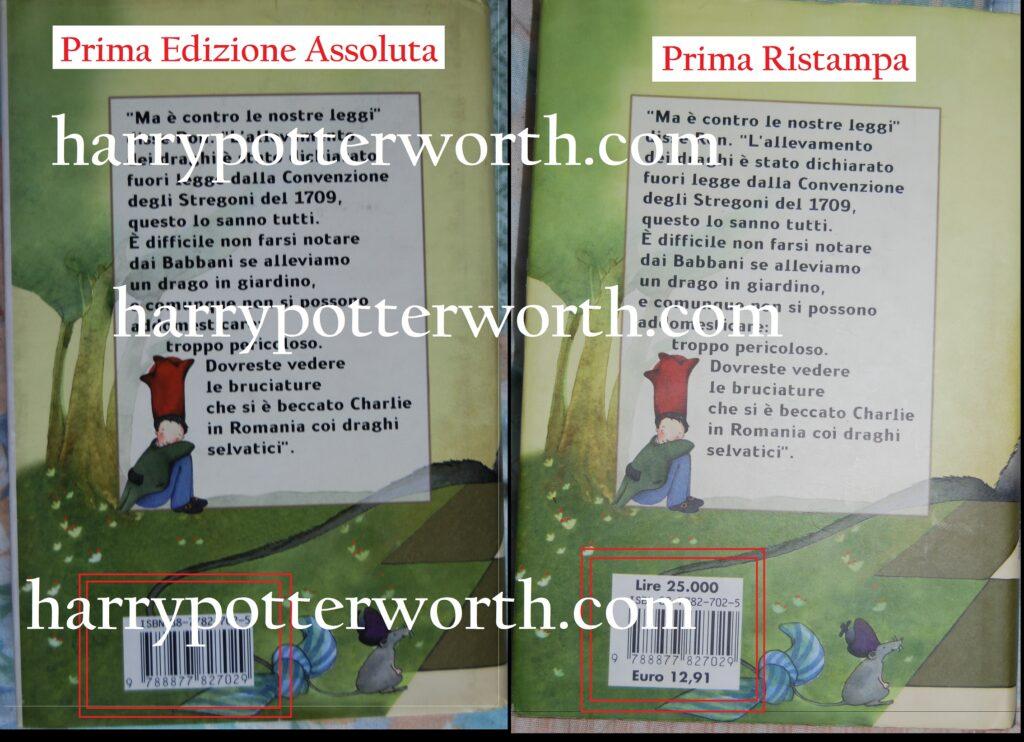 Libro Harry Potter e La Pietra Filosofale Confronto Prima Edizione Ristampe Salani 1998 - Seconda Versione Copertina Con Occhiali